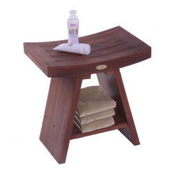 "Decoteak - Classic Asia Teak Serenity Shower Stool - The Deco Teak solid teak Asia Serenity Shower Stool with shelf provides style of Asia to your shower, bathroom, living room, or patio. The included shelf gives added versatility for storage of toiletries, books, or other essentials. The sides gently slope upwards giving its classic Eastern Zen flair. It has been styled on classic Zen design themes that provide calm, tranquility, and elegance to your setting. Some of our customers have even called this ""meditation bench"". Our proprietary deep penetrating stain provides additional mold, mildew, and fungus inhibitors as well as increased longevity for use outdoors. Some assembly is required. Features: -Asian style, grace, and elegance. -Handy storage shelf included. -Easy to assemble- all tools and detailed instructions and assembly diagrams included. -Galvanized stainless steel corrosion resistant hardware. -Indoor outdoor deep penetrating stain for water, mold, mildew, fungus, and sunlight resistance. -30-Day satisfaction guarantee. -Teak fits with modern or traditional bathroom décor. -Use in shower, bathroom or outdoors. -Stain: Deco Teak deep penetrating indoor outdoor golden brown. -Material: 100% Sustainably harvested solid teak wood. -Furniture style: Asian. -With shelf. -Made from plantation grown sustainably harvested solid teak that is naturally water, and mildew resistant. -Warranty: 5 Years. Dimensions: -18"" H x 13"" - 18"" W, 21 lbs."