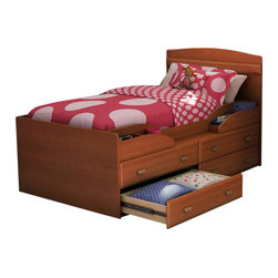 South Shore - South Shore Imagine Kids Twin Captain's Bed 4 Piece Bedroom Set in Morgan Cherry - South Shore - Bedroom Sets - 35762144PKG -    South Shore Imagine Kids Transitional 2 Drawer Wood Media Chest in Morgan Cherry Finish (included quantity: 1) The Imagine Media Chest is constructed of engineered wood products in a Morgan Cherry finish. It features two open storage compartments and two drawers for ample storage. The open compartment includes wire management holes for your convenience. Use it as a storage chest or as a TV stand in your kid's bedroom. The versatile Imagine Media Chest offers a lasting appeal your kid will enjoy for many years. Your child's safety is the design philosophy behind the Imagine Collection by South Shore Furniture. Each piece of furniture has rounded shapes to provide maximum safety. This juvenile bedroom collection features a smaller scale with transitional design elements and an elegant Morgan Cherry finish. With a charming looks and a lasting appeal, the South Shore Furniture Imagine Collection is sure to fit comfortably in your kid's bedroom. Features:
