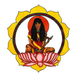 """Devi (Original) by Damon Powell - Artist & Theologian - """"Devi"""" means goddess in South Asia. This image depicts the a goddess sitting upon a lotus flower with a similar lotus motif surrounding the figure. She holds an elephant goad in her hand which is often used as a symbol of divine power and authority. He head is framed by the sun-like aureole which represents divine holiness"""