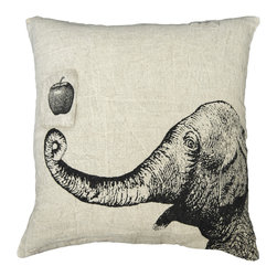"""Sugarboo Designs - Apple & Elephant Vintage-Inspired Pillow - Plush, oversized pillow displays a whimsical vintage drawing. The classic stone wash linen material mixed with the vintage-inspired decorative drawing adds an element of interest to your living room design that coordinates well with either solids or prints. Pillow measures 24"""" x 24"""" and is made of stone wash linen.   About the Artist: Rebecca Puig is the artist behind Sugarboo Designs. Sugarboo is a family business that Rebecca and her husband, Rick, started in 2005. The name """"Sugarboo"""" came from a couple of nicknames she has for her children, Jake and Sophie. They are the main inspiration for Sugarboo because Rebecca always wants to create products that remind us of the ones we love. As a little girl, Rebecca loved to paint and create things. She attended the University of Georgia graduating with a Studio Art degree. Rebecca is inspired by her family, nature, animals, old things, childrens' art and folk art. She also loves juxtaposing old and new, light and dark, serious subject matter with fluff and anything with a message. Rebecca believes in putting good out into the world whenever possible. Her hope is that each Sugarboo piece she creates will add a little good into the world.   Product Details:"""