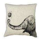 "Sugarboo Designs - Apple & Elephant Vintage-Inspired Pillow - Plush, oversized pillow displays a whimsical vintage drawing. The classic stone wash linen material mixed with the vintage-inspired decorative drawing adds an element of interest to your living room design that coordinates well with either solids or prints. Pillow measures 24"" x 24"" and is made of stone wash linen.   About the Artist: Rebecca Puig is the artist behind Sugarboo Designs. Sugarboo is a family business that Rebecca and her husband, Rick, started in 2005. The name ""Sugarboo"" came from a couple of nicknames she has for her children, Jake and Sophie. They are the main inspiration for Sugarboo because Rebecca always wants to create products that remind us of the ones we love. As a little girl, Rebecca loved to paint and create things. She attended the University of Georgia graduating with a Studio Art degree. Rebecca is inspired by her family, nature, animals, old things, childrens' art and folk art. She also loves juxtaposing old and new, light and dark, serious subject matter with fluff and anything with a message. Rebecca believes in putting good out into the world whenever possible. Her hope is that each Sugarboo piece she creates will add a little good into the world.   Product Details:"