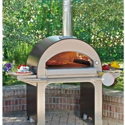 Alfa Forno 4 Wood Fired Pizza Oven - The double ceramic fiber insulation of the Alfa Forno 4 Wood-fired oven retains heat longer so you can cook more great pizza with less wood! This handsome stainless steel unit boasts a convenient mobile design that can glide easily from the yard to the patio and beyond and features two expansive side trays for easy meal preparation and tool storage. There's an easy-to-read built-in thermostat off to the side but you'll know exactly when the pies are ready to go in because this oven heats up to 572 ° Fahrenheit in 10 minutes every time! And when we say pies we mean pies. This extra-large oven has the capacity to evenly bake 4 crusts at once and crisp them perfectly with a floor made from professional grade refractory materials. And when the meal is over and the last log dies out there will still be enough heat retained in this highly efficient oven to bake up to 4 loaves of bread! Bring the best of Italian craftsmanship and pizzeria quality cooking to your home! Measures 61W x 34.6D x 79.5H inches. About Alfa PizzaAlfa Pizza is has been giving homes and businesses around the world the ability to create their own authentic Italian dishes since 1977. This large manufacturing company based out of Italy has a network of over 4 000 qualified dealers that distribute some of the best brick and refractory products on the market. Fireplaces stoves siding barbecues grills pellet stoves and more are all part of the Alfa brand. Alfa is dedicated to bringing you the best in wood-oven technology at an affordable price.
