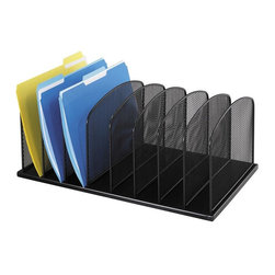 Safco - Onyx Mesh Desk Organizer in Black - Eight upright sections. 2 in. wide compartments. Accommodates file folders and binders. GREENGUARD Certified. Made from steel. 19.25 in. W x 11.5 in. D x 8.25 in. H (7 lbs.)Organize with Onyx all over your office! The contemporary style of this mesh organizer goes great whether it's on your desk in your home or office. Mesh also makes a good impression in your reception area, printing area, supply room, mail room, classroom or media center. It's Meshy no more!
