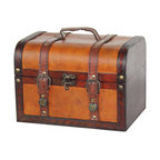 """Quickway Imports - Decorative Wood Leather Treasure Box - Small Trunk Chest - Size: 9.8"""" x 7"""" x 7"""""""