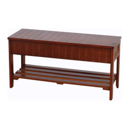 Furnituremaxx - Rennes Cherry Finish Quality Solid Wood Shoe Bench With Storage - Cherry Finish Quality Solid Wood Shoe Bench With Storage, Easy to assemble, Strong solid wood construction.