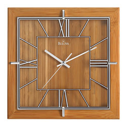 Bulova - Studio Wall Clock - Solid laminated bamboo case, natural lacquer finish. Glass dial with brown outlined mirror markers and numerals. Chrome-finish glass retainers. Uses one AA battery, not included. Bulova - C4645