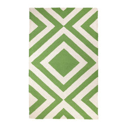 Trina Turk - Trina Turk Merced Hook Green Rug - The Merced rug's concentric diamond pattern lends an energetic vibe. Pulsing with energy, this bold geometric accent by Trina Turk is hand hooked in bright kiwi green. 3' x 5'; 100% wool; Cotton canvas backing; Rug pad recommended; Professional cleaning recommended