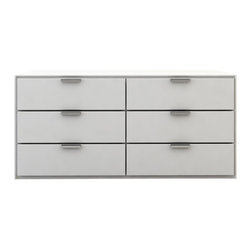 Modloft - Thompson Dresser, White Lacquer - The Thompson six-drawer split dresser with chrome handles matches any modern bedroom decor. Italian Danco-brand soft-closing hardware enables smooth and effortless drawer movement. Interior of drawers elegantly lined in light beige linenboard. Available in wenge or walnut wood finishes. Also available in white lacquer finish. No assembly required. Imported.