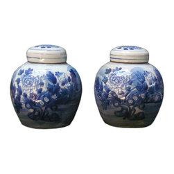 Golden Lotus - 2 Chinese Porcelain Blue & White Small Jars - These are traditional Chinese porcelain containers with blue & white graphic on the surface. They are hand made items, the result and the details has variation. Not exactly same finish.