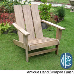 International Caravan - Acacia Hardwood Natural Square Back Adirondack Chair - Add a touch of classic elegance to your patio furnishings with the long-lasting and durable acacia hardwood Adirondack chair. This chair features a contemporary square-back design,and your choice of four wood stain finishes.