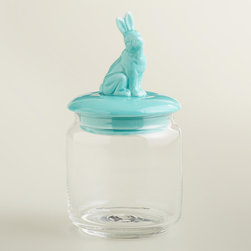 Aqua Easter Bunny Storage Jar - How fun is this jar? A set of these filled with colorful candies is a super way to serve up some sweets to your guests.