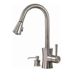 """Pegasus - Pegasus FP0A5012BNV Luca Single Handle Pullout Kitchen Faucet with Soap Dispense - Pegasus FP0A5012BNV Luca Single Handle Pullout Kitchen Faucet with Soap Dispenser in Brushed Nickel This Luca Single Handle Pullout Spray Kitchen Faucet is the perfect choice for your new kitchen faucet. It features a sleek modern design that will change the look of your kitchen.Pegasus FP0A5012BNV Luca Single Handle Pullout Kitchen Faucet with Soap Dispenser in Brushed Nickel , Features:bull; 16.6"""" Spout Height"""