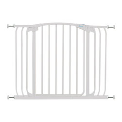 "Dreambaby - Dreambaby Chelsea Xtra Wide Swing Close Gate, White - Dreambaby® Hallway Security gate is extremely versatile and great for those wider areas.  Keep your child safer by preventing access to areas of potential danger. With easy close feature and its double locking system, this attractive pressure mounted gate is easy to install. Suitable for stairs also, the Dreambaby Gate will help you have peace of mind. Great for cordoning off wider spaces and with the use of additional extensions available separately. Versatile indeed, it will fit openings of 38""-42.5"" on its own. Using optional extensions, sold separately, two extensions may be used per side up to a maximum of 121."" This Dreambaby® pressure-mounted gate is easily installed and for most situations there is no need to screw holes into woodwork, walls unless used at the top of stairs where the mounting cups must be screwed in to added security. Great for pets too!"