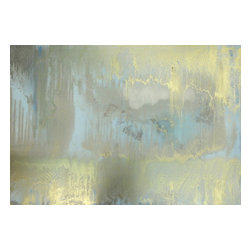 """New Orleans Series: """"Gold Mist"""" by Austin Allen James, 16x20 - From his New Orleans Series, Austin Allen James brings us """"Gold Mist."""" Like dawn breaking across a waterscape, his hazy abstract painting features a shimmering glow of metallics. Subtle layers of gold and blue paint invite movement and lyricism to the piece, for which the artist is well known. This mixed media painting on board is coated with a resin clear coat to preserve and enhance the complex layers of this one of a kind abstract. The glossy surface invites the viewer to experience the artwork """"through a looking glass."""" This tranquil and meditative painting can easily serve as the foundation of a well appointed roomscape. Choose the """"Gold Mist"""" style in the size of your choosing, with a 2"""" depth. Each painting is made to order as a one of a kind commission; inherent variations make each piece it's own unique treasure. Learn more about the artist in his feature as a Moss Manor 2014 Guest Curator."""