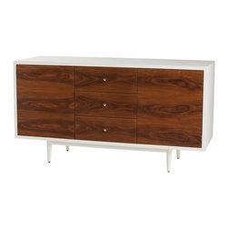 "Arteriors - Trenton Console - This elegant console or credenza takes its inspiration from mid-century design. The two doors and three ""soft closing"" drawers have beautiful rosewood veneer fronts. The sides, top and back are finished in white lacquer."