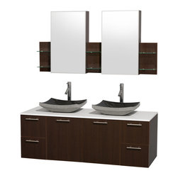 "Wyndham Collection - Amare 60"" Espresso Double Vanity w/ White Man-Made Stone Top & Medicine Cabinet - Modern clean lines and a truly elegant design aesthetic meet affordability in the Wyndham Collection Amare Vanity. Available with green glass or pure white man-made stone counters, and featuring soft close door hinges and drawer glides, you'll never hear a noisy door again! Meticulously finished with brushed Chrome hardware, the attention to detail on this elegant contemporary vanity is unrivalled."