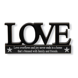 K&K Interiors - Black Love Tabletop Cutout Sign - Love conquers all, and in this case looks great in the process with 'love' in large, clear lettering and a sweet message etched in underneath that together make for the perfect romantic centerpiece. �� 9.5'' W x 4.5'' H Medium-density fiberboard Imported