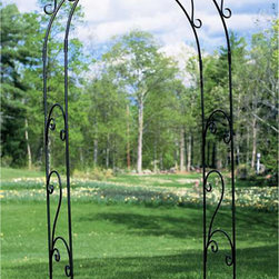 Roman Arbor - Just stepping through the graceful arch of our Roman Arbor will lift your spirits. Whether placed at the entrance to your garden to welcome guests, or simply used as an accent piece this Arbor covered with your favorite climbing vines will enhance the natural beauty of any garden. This piece is forged from powder coated iron for long lasting durability with slip in connections for easy assembly without tools. Spiked legs allow for in-ground installation and optional feet can convert it for free-standing us.