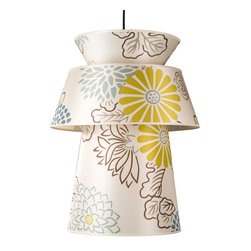 Lights Up! - Louie Pendant Lamp, Kimono on Silk Shade - Brighten your mood and your lighting with this uplifting pendant lamp. Featuring a floral print on a silk shade, this lamp is as cheery as a spring bouquet.