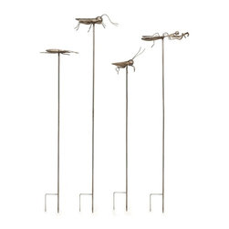 "IMAX CORPORATION - Acerra Metal Insect Garden Stake - Set of 4 - With a whimsical feel, these metal statuary garden stakes feature oversized insects and add a fun feel to any garden. Set of four. Set of 4 stakes in varying sizes measuring approximately 38.5-48.25""H x 8-11""W x 4.5-6"" each. Shop home furnishings, decor, and accessories from Posh Urban Furnishings. Beautiful, stylish furniture and decor that will brighten your home instantly. Shop modern, traditional, vintage, and world designs."