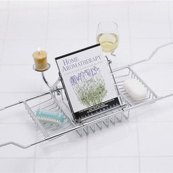 Taymor - Aromatherapy Bathtub Caddy (Polished Brass) - Color: Polished BrassExtends another 11 in.. Small removable reading rack. Holds wine glass and votive candle holder. Wire coating for protecting ends. Scratch free. Slip resistant. Ends slide in for easy storage when not in use. 17 in. L x 8 in. W x 2 in. H (4 lbs.)Catch up on your reading while you relax in a warm tub. Cross the tub caddy, expands to fit most tubs.