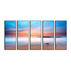 Vibrant Canvas Prints - Photo Canvas Prints, Framed 3 Panel Forest Leave Waterfall Streams - This is a beautiful, 100% quality cotton canvas print. This print is perfect for any home or office, and will make any room shine with its addition of color and beauty.  - Free Shipping - Modern Home and Office Interior Decor   Beach Canvas Designs - 5 Panel Print   Sunset Beach Print on Canvas - Wall Art - 30 Day Money Back Guarantee.