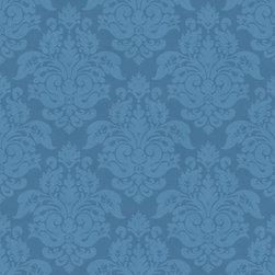 Warner - Ckb77724 Peony Damask Wallpaper - Kitchen, Bed & Bath, CKB77724 Peony Damask is a blue tone on tone damask wallpaper.