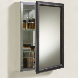 "Kohler - KOHLER K-2967-BR1 Aluminum Cabinet with Oil-Rubbed Bronze Framed Mirror Door - Features: -Medicine cabinet. -Includes mounting hardware and side mirror kit. -Anodized aluminum construction. -Features elegant detailing. -Reversible door that can be installed with a left or right hinge. -Two adjustable 0.25"" glass shelves for customized storage. -Rust and rot-free cabinet box. -Mirror on front of door, back of door and interior back of cabinet. -Wood frame with oil rubbed bronze finish. -Surface and recess installation. -Hinges with 110 degree opening capability. Specifications: -Kohler provides a one year limited warranty. -Overall dimensions: 26"" H x 20"" W x 5.375"" D."