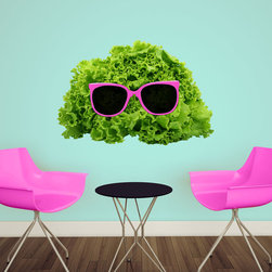 My Wonderful Walls - Mr. Salad Cut Out Wall Sticker Decal by Florent Bodart, Small - - Product: decal of lettuce with pink sunglasses