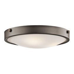 Kichler Lighting - Kichler Lighting 42275OZ Lytham Transitional Flush Mount Ceiling Light - This versatile 3 light flush mounted ceiling fixture features a warm, Olde Bronze finish and Stain Etched White Glass that will effortlessly highlight any space in your home.