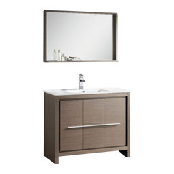 Fresca - Fresca FVN8140GO Allier 40 Inches Gray Oak Modern Bathroom Vanity With Mirror - Fresca FVN8140GO Allier 40 Inches Gray Oak Modern Bathroom Vanity With Mirror