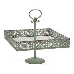"IMAX - Mills Metal Square Cake Stand - In a soft shade of green, the Mills metal square cake stand adds a feminine touch to any home. It's lace inspired metal cutwork design enhances any tabletop with petit fours cakes, cupcakes, hors d'oeuvres or plump yeast rolls. Food safe. Item Dimensions: (15.25""h x 14.75""w x 14.75"")"