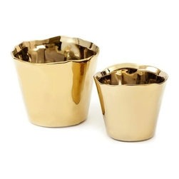 "Two's Company - Two's Company Tozai Gold Planters (set of 2) - set of 2 gold ceramic planters. small 4 1/2"" diameter x 3 3/4"" high, large 5 1/2"" diameter x 4 1/2"" h"
