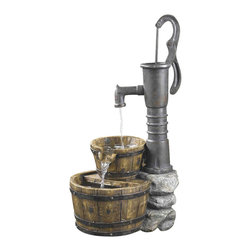 """Jeco - Old Fashion Water Pump Water Fountain - """"This is a classic western type water pump fountain. Water pours from water pump to wooden basin. A simple yet beautiful fountain, this distressed look will make the perfect addition in your home or garden!"""
