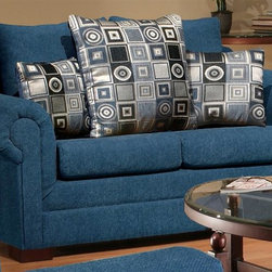 Chelsea Home - Marsha Medium Loveseat - No sag steel springs. 1.5 density dacron wrapped cushions. Tahoe navy and boomerang navy upholstery. Made from hardwood. Made in USA. No assembly required. 70 in. L x 35 in. W x 38 in. H (135 lbs.)