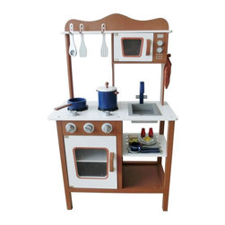 Berry Toys - Berry Toys Espresso Modern Wooden Play Kitchen Dark Brown - W10C045C - Shop for Cooking and Housekeeping from Hayneedle.com! Is it hard to keep your kid out of the kitchen when you're trying to make dinner? Get him or her the Berry Toys Espresso Modern Wooden Play Kitchen and she'll be much too busy cooking her own food to get under your feet. This modern play kitchen is made of wood so it can take a lot of use and still look good. The see-through doors on the oven and microwave open and close so your child can put food in to cook and then keep watch through the windows. The countertop features a two-burner range and a modern sink where your budding chef can pretend to wash her dishes. (The sink bowl pops out in case a real clean-up is in order.) And an awesome cookware and play food set is included! Your child can play right away with the pans cooking utensils dishes and breakfast foods that come right along with this kitchen unit. When she's done playing all the accessories store neatly on the hooks and shelves. Get your child interested in cooking with the beautiful Berry Toys Espresso Modern Wooden Play Kitchen.About Berry ToysBased in Chino Hills California Berry Toys is a leading manufacturer of children's toys. Berry Toys aims to educate children through play and their toy selection includes play kitchens play foods musical instruments play tools and more. If you want affordable pricing quality customer service and educational toys that are manufactured according to the highest standards Berry Toys can deliver.