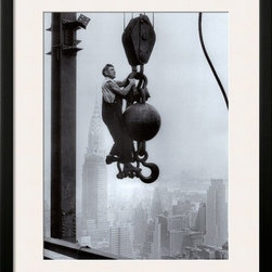 Artcom - Construction Worker on the Empire State Building Artwork - Construction Worker on the Empire State Building is a Framed Art Print set with a SOHO Black wood frame and a Polar White mat.