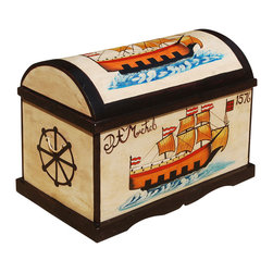 Sierra Living Concepts - Seafarers Hand Painted Mango Wood Curved Lid Storage Lid Trunk - Yo ho, ho, and a trunk full of fun. Our Seafarers Trunk brings a bright splash of color home with hand painted full color sailing ships dated 1576 and 1668. This solid hardwood storage box is built with mango wood, a tropical hardwood grown as a sustainable crop.