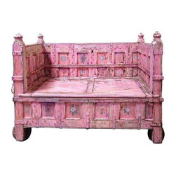 Pre-owned Pink Princess Antique Painted Storage Bench - This stunning antique storage bench was handpainted in a tasteful and elegant pink fit only for a daughter of a Maharaja many years ago. The seller discovered this beauty when scouring Incredible India for finds just like these.  This bench is estimated to be nearly 200 years old; not certain that it is the original paint, but it is very old paint and not recently done. Note the round wooden wheels that are in excellent condition and original to the piece. This is a perfect compliment to any home looking to add that air of travel and worldliness.