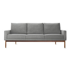 Design Within Reach - Raleigh Sofa, Fabric | Design Within Reach - I adore the walnut base on this modern sofa. Plus, tall people can relax a little longer with the extra-high back.