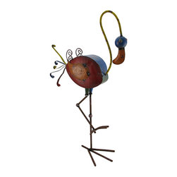 Zeckos - Colorful Flamingo Distressed Finish Metal Sculpture 28 in. - Add a whimsically cheerful accent to your home or garden with this colorful flamingo sculpture. Crafted from metal, it`s painted with a distressed finish in rich colored enamels and stands 28.25 inches (72 cm) high, 15 inches (38 cm) long and 6.5 inches (17 cm) wide. It looks great among your vegetable garden, your bed of blooms or in your home. This piece makes a great gift for friends and family that is sure to be admired.