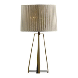 Baker - Buttress Table Lamp - Architectural and sophisticated, the Buttress Table Lamp by Baker features four brass legs finished in Bronze and anchored by a brass base plate finished in Antique Gold. The linen ribbon-wrapped shade produces a brilliant, sparkling lighting effect. Two  60W bulbs required.