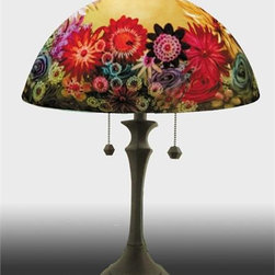 Barthell, Jamie - Rose Garden Reverse Hand Painted Glass Table Lamp - This beautiful hand painted glass table lamp shown here in the Rose Garden design, will make a stunning addition to any room. Each piece is an original work of art that is signed and numbered, and includes a certificate of authenticity