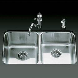 """KOHLER - KOHLER K-3351-NA Undertone Double Equal Undercounter Kitchen Sink - KOHLER K-3351-NA Undertone Double Equal Undercounter Kitchen Sink with Basin Depth of 9-1/2"""" Left and 7-1/2"""" Right"""