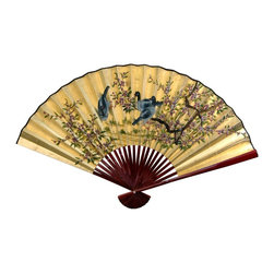 Oriental Unlimited - Gold Leaf Birds & Flowers Fan (Small) - Choose Size: SmallAuthentic 24 carat Gold leaf appliqué finish (front side only). Decorated in a beautiful hand painted Asian art motif. Blossoming tree branches and 3 delicately rendered birds. Small: 20 in. W x 12 in H. Large: 48 in. W x 30 in H