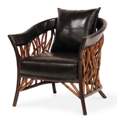 Palecek - Adelaide Lounge Chair - Pole rattan frame and legs in two tone warm brown finish. Pole rattan woven in vine-like shapes. Hand-stitched full grain dark brown leather around top edge, pillow, and seat. Available only as shown.