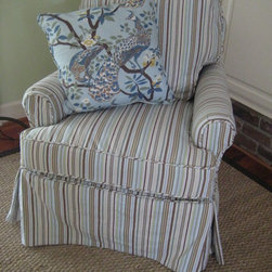 Small Club Chair slipcovered in Sierra Stripe Camel - Kerry Ann Dame