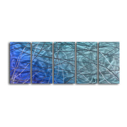 "'Beautifully Intertwined in Chaos' 5 Piece Handmade Metal Wall Art Set - Size: 24"" x 60"" (24"" x 12"" x 5pc).  Enjoy a 100% hand crafted metal wall art made of high grade brushed aluminum over a 1/2 inch thick inner wooden frame. This beautiful wall decor is hand painted and ready to hang out of the box. Each aluminum sheet is hand sanded and hand grinded until the desired holographic effect is accomplished. This process brings the artwork to life and you see it moving as you walk by. Then the grinded panels are hand painted with multiple layers of paint and finished with clear UV coat. With each purchase of our metal art you receive a one of a kind piece due to the handcrafted nature of the product. Hand crafted by a single talented artist. Due to the handcrafted nature, each piece may have subtle differences."