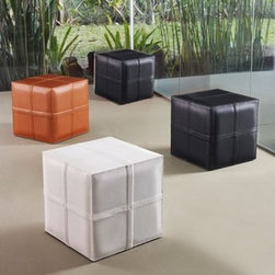 Modloft - Modloft | Dacre Cube Pouf - Made in Brazil by Modloft.Dacre Cube Pouf features a cross stitching design in fully wrapped leather or synthetic hair. The versatile cubed form works as single seating, rest spot or small side table. Available in a variety of fabric options.