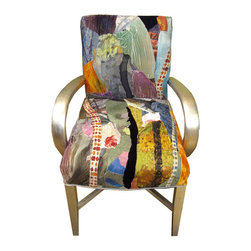 Artsy Chairs - Sara Palacios Designs is a unique company that produces collectible, bespoke, artsy, funky furniture and home decor accessories.  What makes us unique is the fabric that we create for each piece of furniture. All our fabrics are artsy, unique and eclectic;  hand painted or collaged.